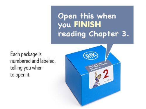 Packages from Reading Incentive Kit are labeled and numbered, telling you when to open it.
