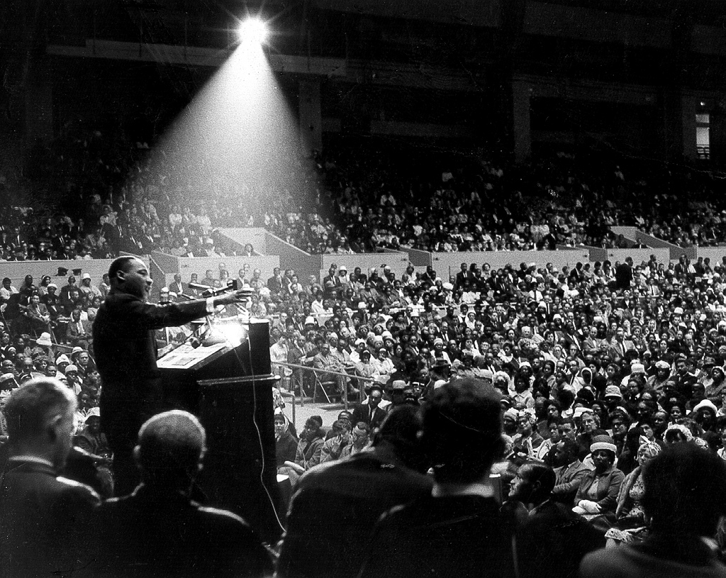 Martin Luther King, Jr. speaking at interfaith civil rights rally, San Francisco Cow Palace, June 30 1964